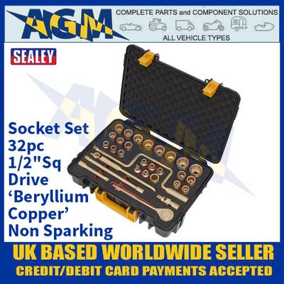 "Sealey NS039 Socket Set 32pc 1/2""Sq Drive 'Beryllium Copper' Non-Sparking"