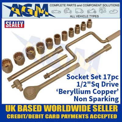 "Sealey NS124 Socket Set 17pc 1/2""Sq Drive 'Beryllium Copper' Non-Sparking"