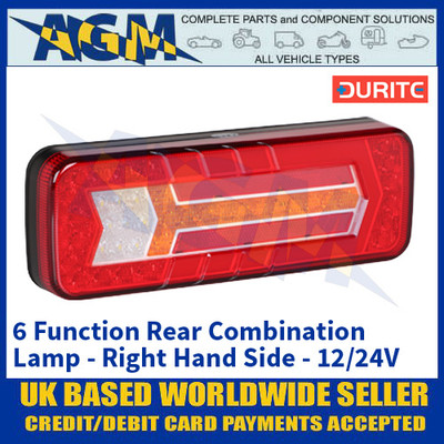 Durite 0-071-64 6 Function Rear Combination Lamp - Right Hand Side - 12/24V