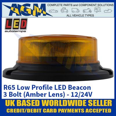 LED Autolamps R65 Low Profile LED Beacon - 3 Bolt (Amber Lens) - 12/24V