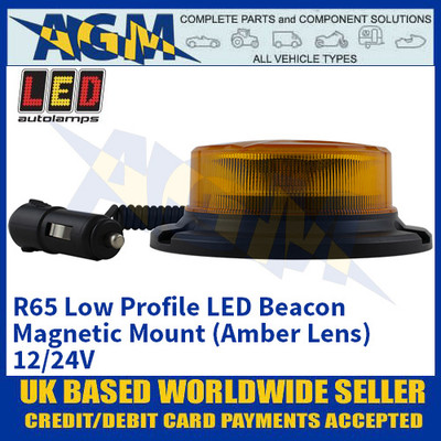 LED Autolamps R65 Low Profile LED Beacon - Magnetic Mount (Amber Lens) - 12/24V