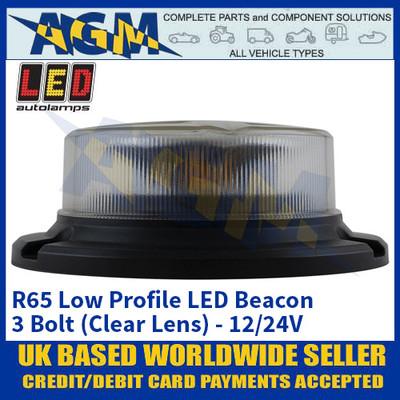 LED Autolamps R65 Low Profile LED Beacon - 3 Bolt (Clear Lens) - 12/24V