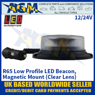LED Autolamps R65 Low Profile LED Beacon - Magnetic Mount (Clear Lens) - 12/24V