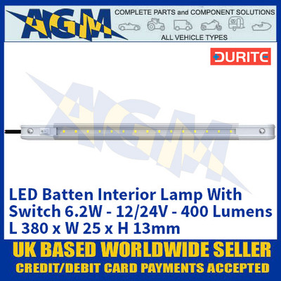 Durite 0-668-21 LED Batten Interior Lamp With Switch 6.2W - 12/24V