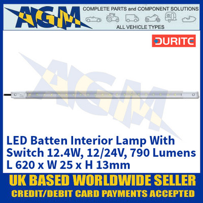 Durite 0-668-22 LED Batten Interior Lamp With Switch 12.4W - 12/24V