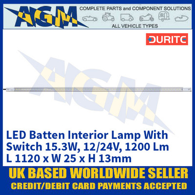 Durite 0-668-23 LED Batten Interior Lamp With Switch 15.3W - 12/24V