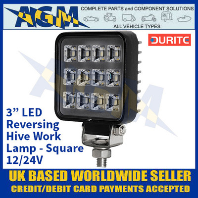 "Durite 0-420-06 3"" LED Reversing Hive Work Lamp - Square - 12/24V"