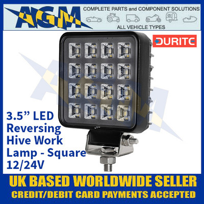 "Durite 0-420-07 3.5"" LED Reversing Hive Work Lamp - Square - 12/24V"