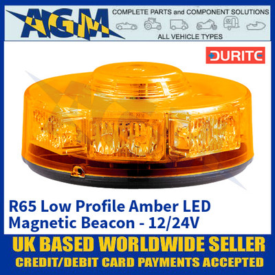 Durite 0-445-10 R65 Low Profile Magnetic Amber Beacon - 12/24V
