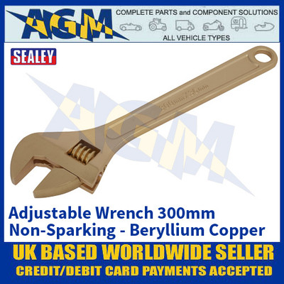 Sealey NS068 Adjustable Wrench 300mm 'Beryllium Copper' Non-Sparking