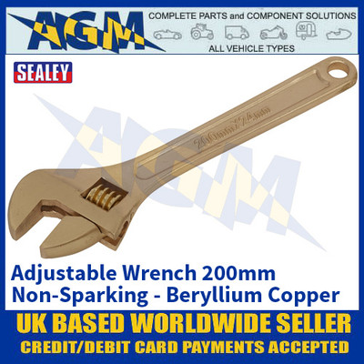 Sealey NS066 Adjustable Wrench 200mm 'Beryllium Copper' Non-Sparking