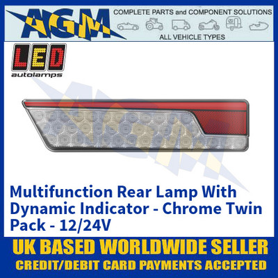 LED Autolamps 355ARWM-2 Multifunction Rear Lamp With Dynamic Indicator - Chrome Twin Pack - 12/24V
