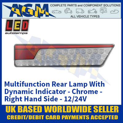 LED Autolamps 355ARWMR Multifunction Rear Lamp With Dynamic Indicator - Chrome - Right Hand Side - 12/24V