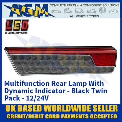 LED Autolamps 355BARWM-2 Multifunction Rear Lamp With Dynamic Indicator - Black Twin Pack - 12/24V