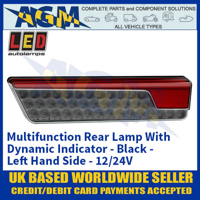 LED Autolamps 355BARWML Multifunction Rear Lamp With Dynamic Indicator - Black - Left Hand Side - 12/24V