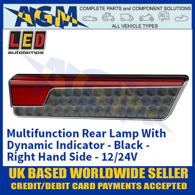 LED Autolamps 355BARWML Multifunction Rear Lamp With Dynamic Indicator - Black - Right Hand Side - 12/24V