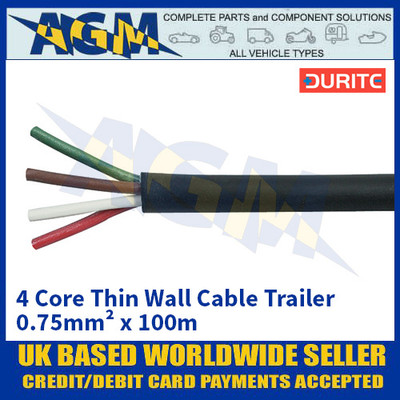 Durite 0-993-40, 4 Core Thin Wall Cable Trailer 0.75mm² x 100m