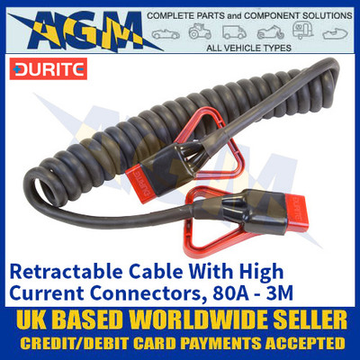Durite 0-732-00, Retractable Cable With High Current Connectors, 80A - 3M