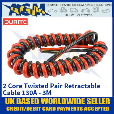 Durite 0-733-25, 2 Core Twisted Pair Retractable Cable 130A - 3M