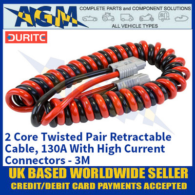 Durite 0-733-26, 2 Core Twisted Pair Retractable Cable, 130A With High Current Connectors - 3M