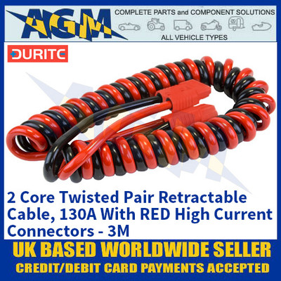 Durite 0-733-27, 2 Core Twisted Pair Retractable Cable, 130A With RED High Current Connectors - 3M