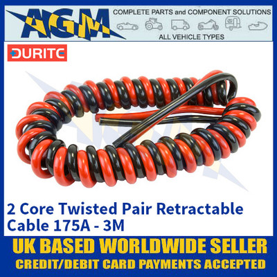 Durite 0-733-35, 2 Core Twisted Pair Retractable Cable 175A - 3M