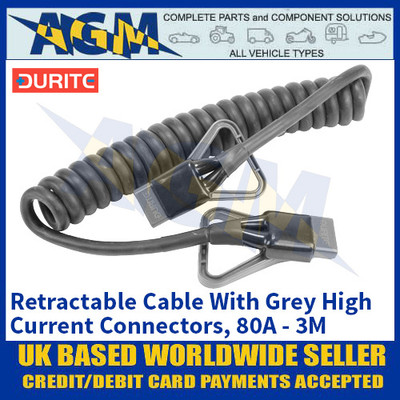 Durite 0-732-01, Retractable Cable With Grey High Current Connectors, 80A - 3M