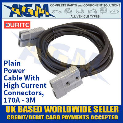 Durite 4-204-05, Plain Power Cable With High Current Connectors, 170A - 3M