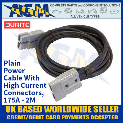 Durite 4-204-07, Plain Power Cable With High Current Connectors, 175A - 2M