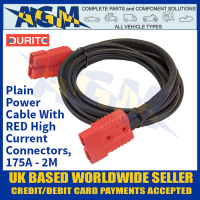 Durite 4-204-04, Plain Power Cable With RED High Current Connectors, 175A - 2M