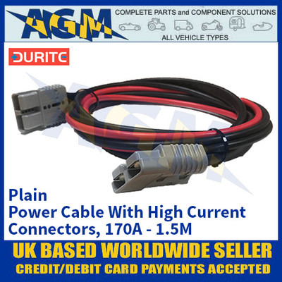 Durite 4-204-06, Plain Power Cable With High Current Connectors, 170A - 1.5M