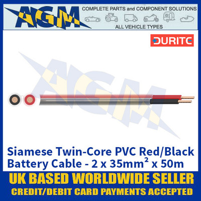 Durite 0-975-35, Siamese Twin-Core PVC Red/Black Battery Cable - 2 x 35mm² x 50m