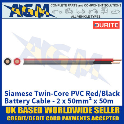 Durite 0-975-50, Siamese Twin-Core PVC Red/Black Battery Cable - 2 x 50mm² x 50m