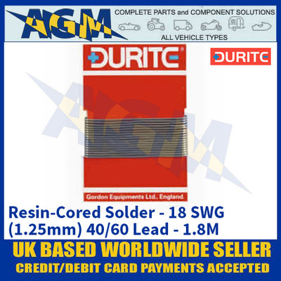 Durite 0-470-00, Resin-Cored Solder - 18 SWG (1.25mm) 40/60 Lead - 1.8M