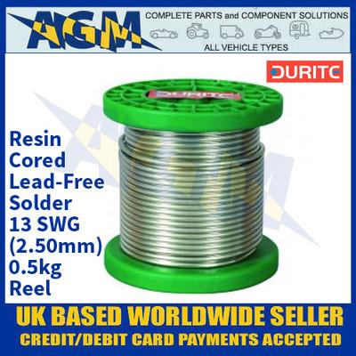 Durite 0-455-63, Resin-Cored Lead-Free Solder - 13 SWG (2.50mm) - 0.5kg Reel