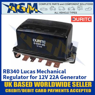 Durite 0-833-00 RB340 Lucas Mechanical Regulator for 12V 22A Generator