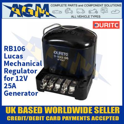 Durite 0-833-06 RB106 Lucas Mechanical Regulator for 12V 25A Generator
