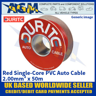Durite 0-943-05 Red Single-Core PVC Auto Cable - 2.00mm² x 50m