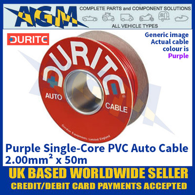 Durite 0-943-06 Purple Single-Core PVC Auto Cable - 2.00mm² x 50m