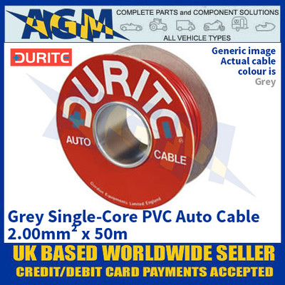 Durite 0-943-09 Grey Single-Core PVC Auto Cable - 2.00mm² x 50m