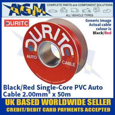 Durite 0-943-15 Black/Red Single-Core PVC Auto Cable - 2.00mm² x 50m