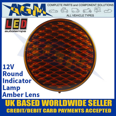 LED Autolamps 82A Round Indicator Lamp - Amber Lens - 12V
