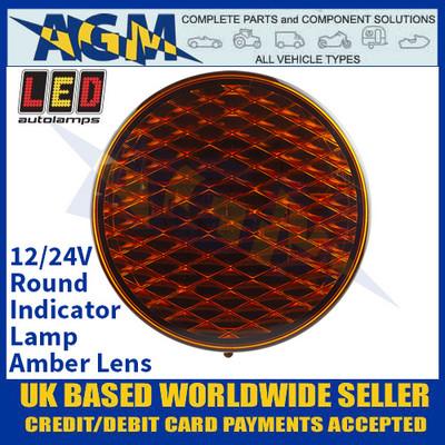 LED Autolamps 82AM Round Indicator Lamp - Amber Lens - 12/24V