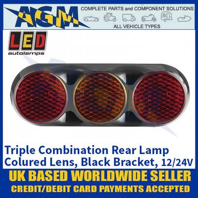 LED Autolamps 82BFARM Triple Combination Rear Lamp, Coloured Lens Lens, Black Bracket 12/24v