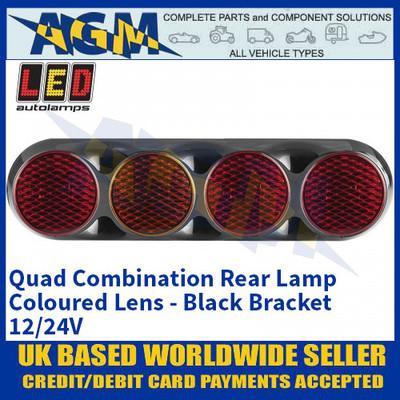 LED Autolamps 82BFARRM Quad Combination Rear Lamp - Coloured Lens - Black Bracket - 12/24V