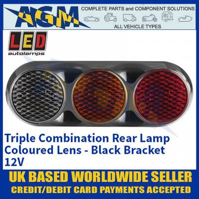 LED Autolamps 82BWAR Triple Combination Rear Lamp, Coloured Lens Lens, Black Bracket 12v