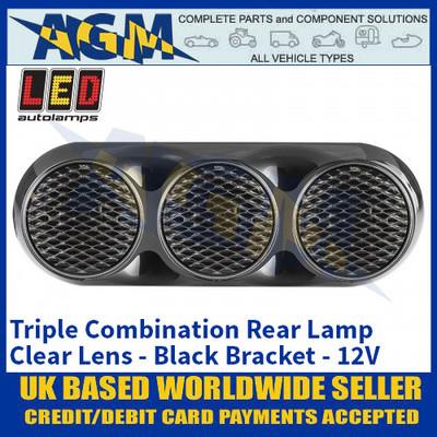 LED Autolamps 82BWARC Triple Combination Rear Lamp, Clear Lens Lens, Black Bracket 12v