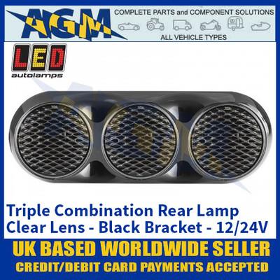 LED Autolamps 82BWARCM Triple Combination Rear Lamp, Clear Lens Lens, Black Bracket 12/24v