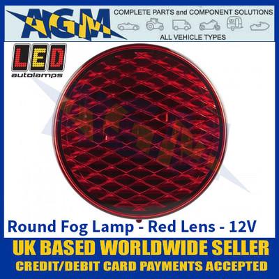 LED Autolamps 82F Round Fog Lamp - Red Lens - 12V