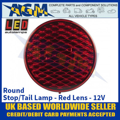 LED Autolamps 82R Round Stop/Tail Lamp Red Lens 12v